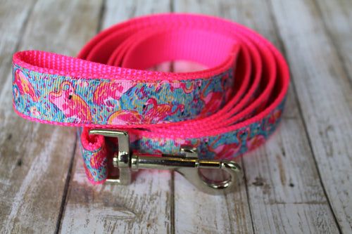 Lilly Inspired Flamingo Dog Leash