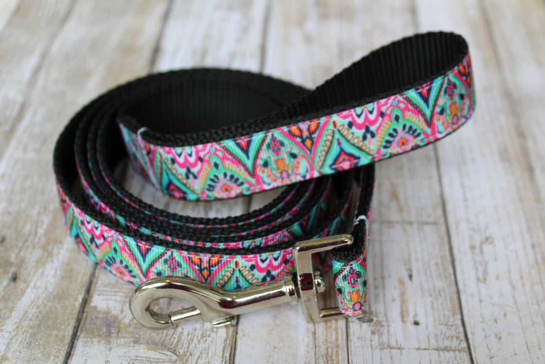 Lilly Inspired Teal Tribal Dog Leash