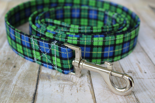 Green and Blue Plaid Dog Leash