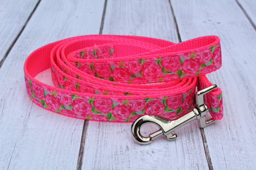 Lilly Inspired Hot Pink Floral Dog Leash