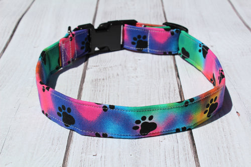 Tie Dye Paws Dog Collar