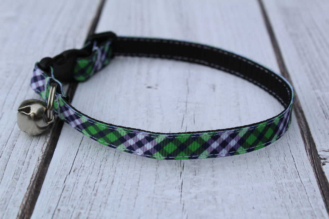 Green Plaid Cat Collars