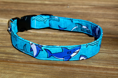 Teal Shark Dog Collar
