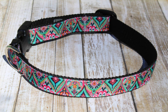 Teal Tribal Lilly Inspired Dog Collar