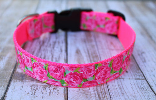 Hot Pink Floral Lilly Inspired Dog Collar