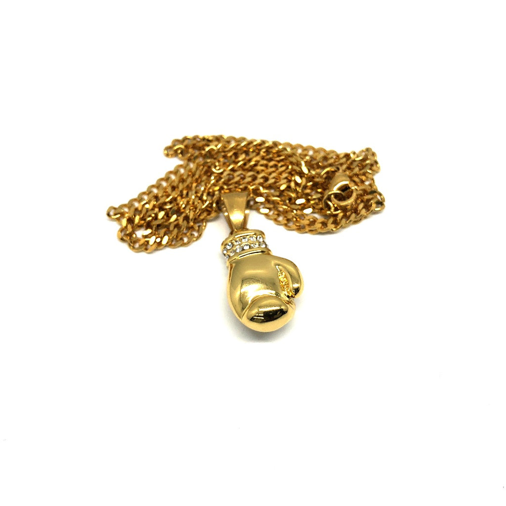 24in 3mm Curb Chain With Boxing Glove Pendant STL_022 - WORLDSTARBLING
