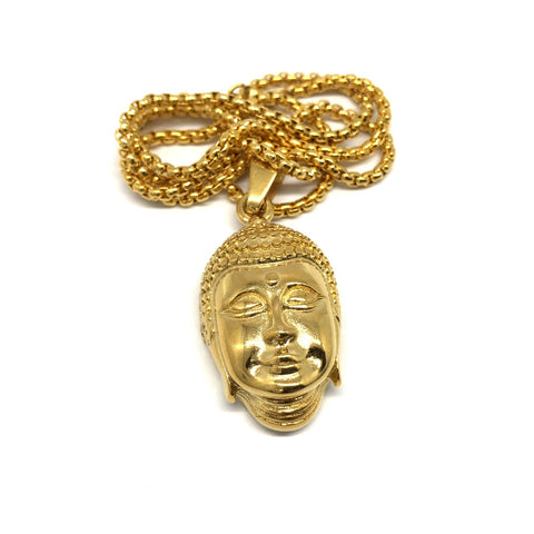 24in 3mm Rolo Chain With Buddha Head Pendant STL_001 - WORLDSTARBLING