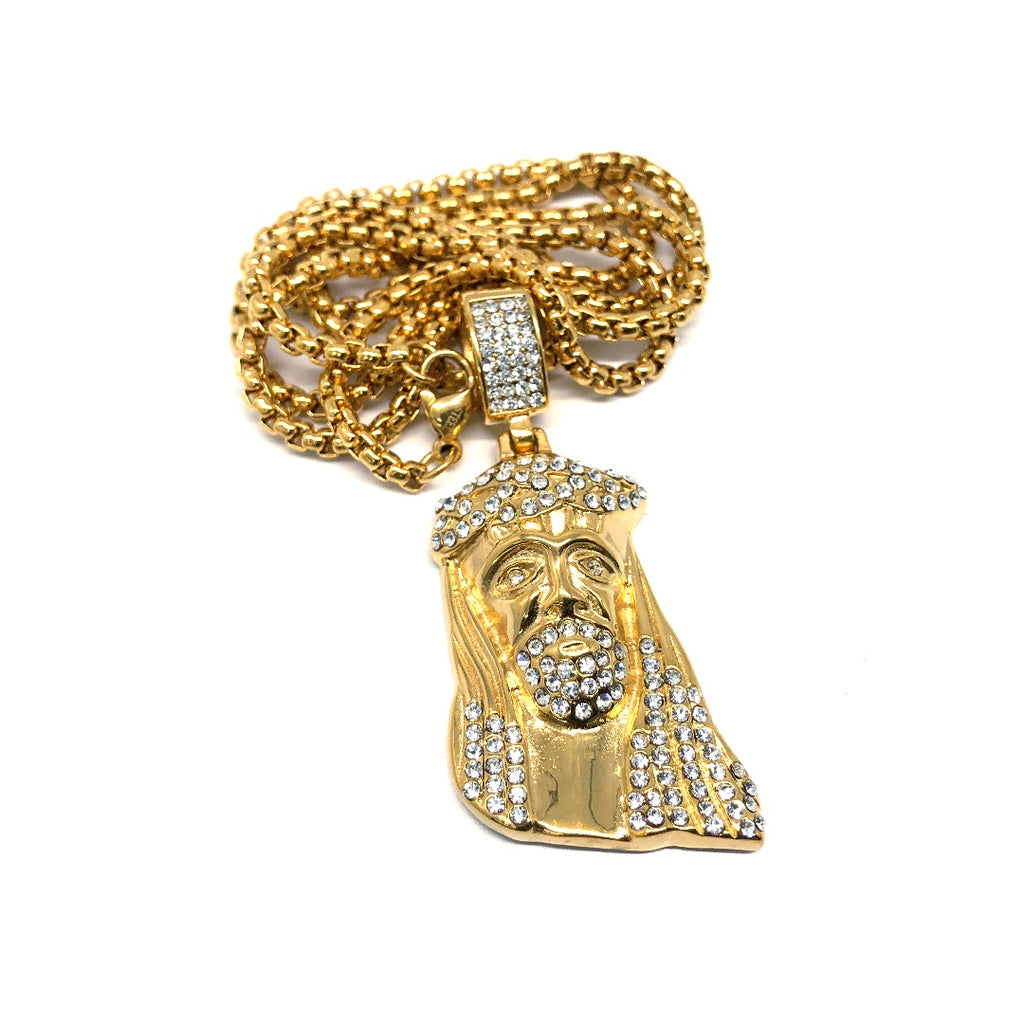 24in 3mm Rolo Chain With Jesus Head Pendant M STL_003 - WORLDSTARBLING