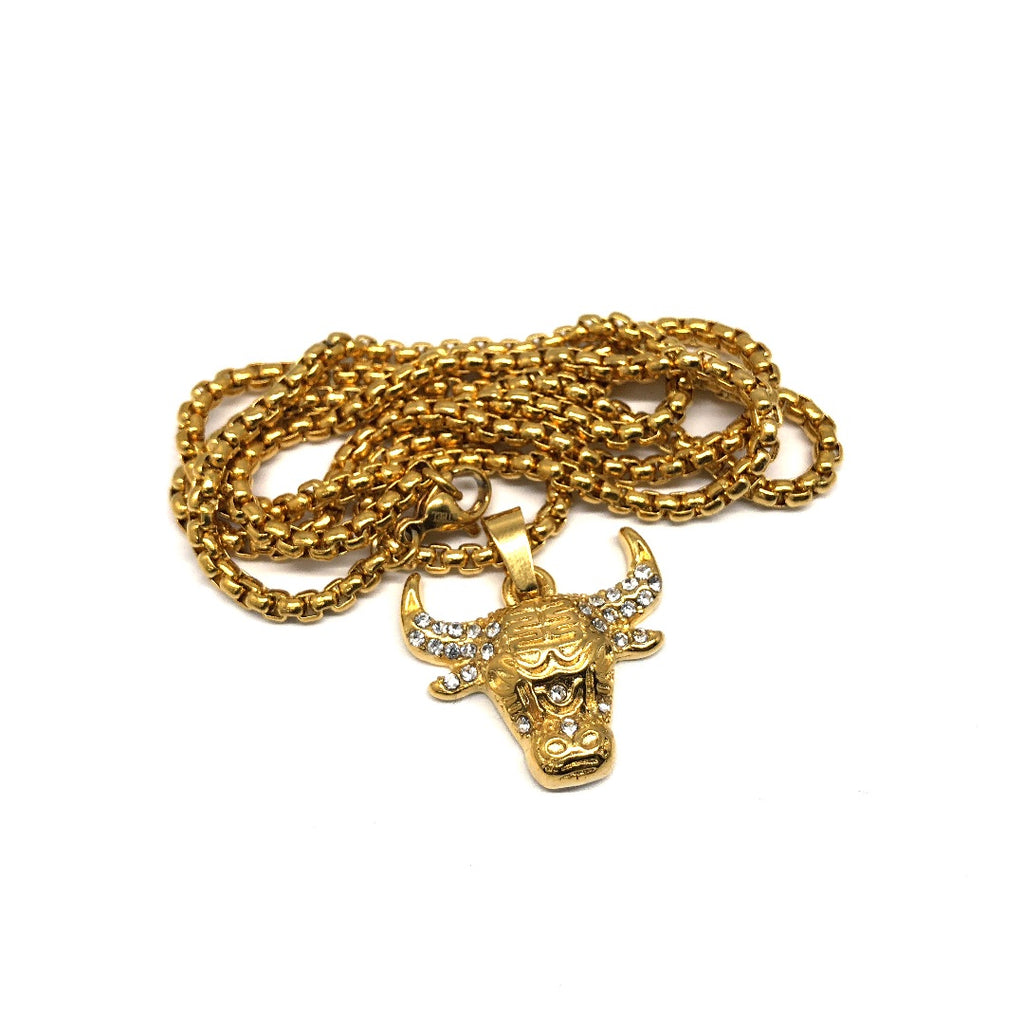 24in 3mm Rolo Chain With Small Bull Pendant STL_037 - WORLDSTARBLING