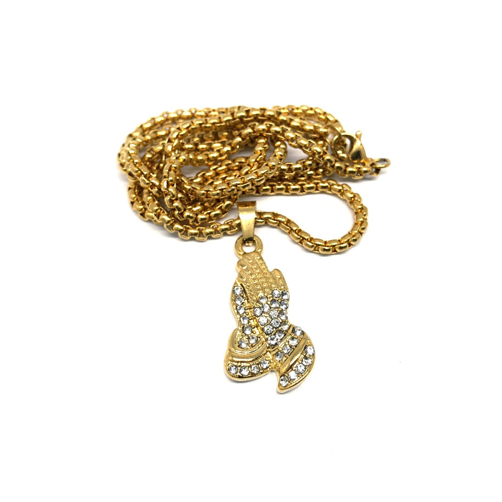 24in 3mm Rolo Chain With Praying Hands Pendant STL_007 - WORLDSTARBLING