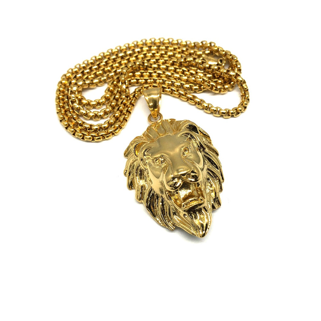 24in 3mm Rolo Chain With Lion Head Pendant STL_035 - WORLDSTARBLING