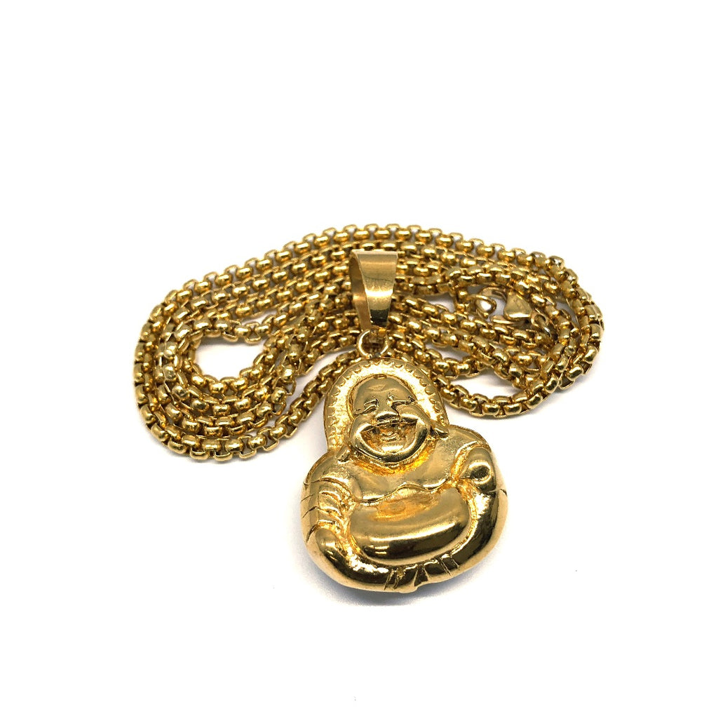 24in 3mm Rolo Chain With Buddha Head Pendant STL_031 - WORLDSTARBLING