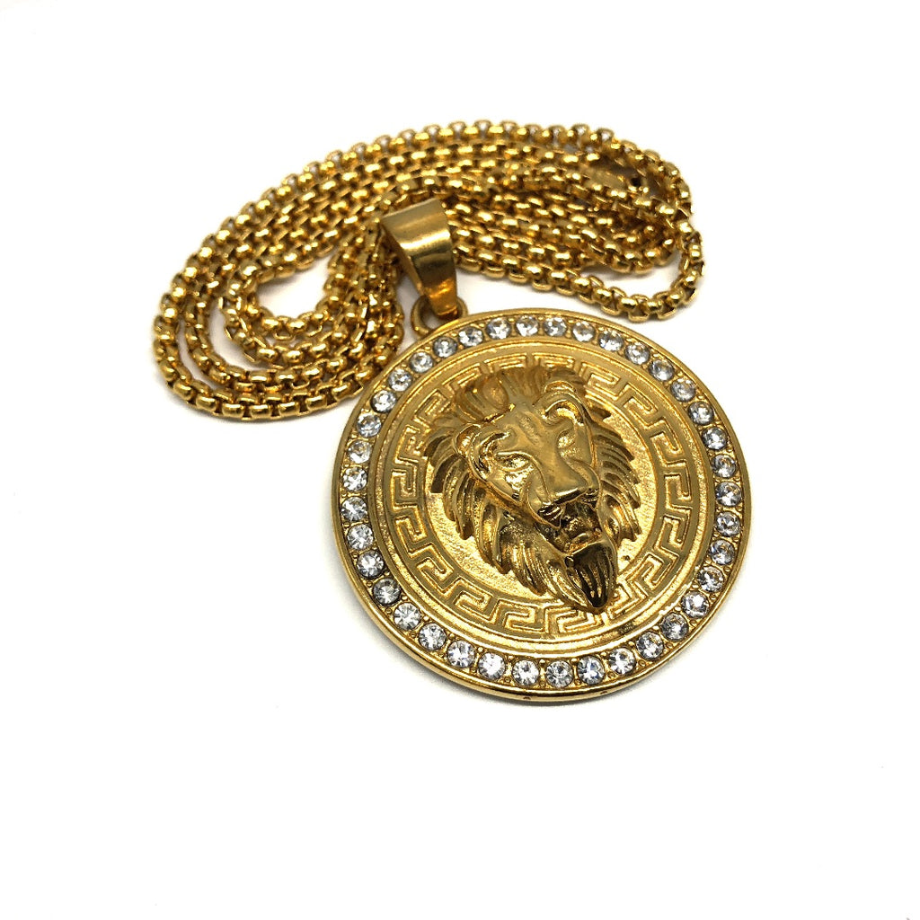 24in 3mm Rolo Chain With Lion Versatchi Pendant STL_036 - WORLDSTARBLING