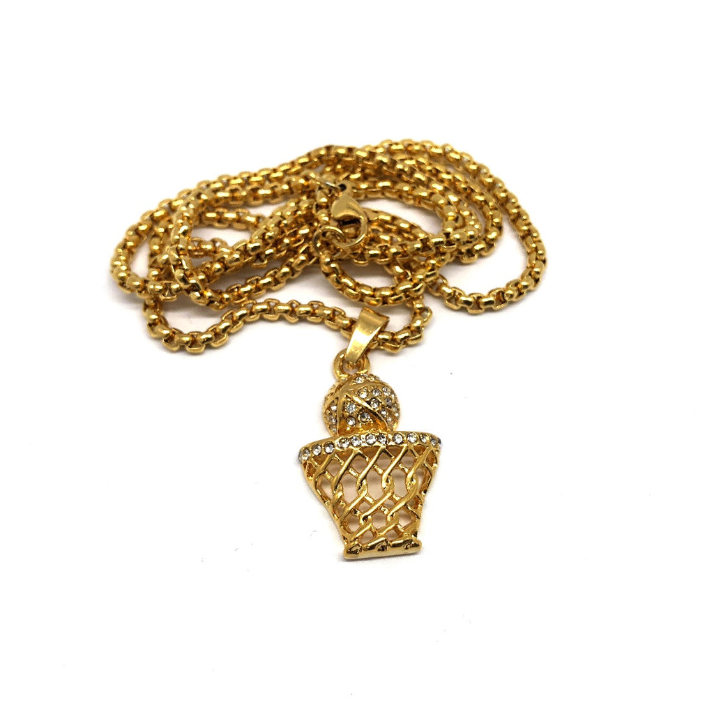 24in 3mm Rolo Chain With Basket Ball Pendant STL_002 - WORLDSTARBLING
