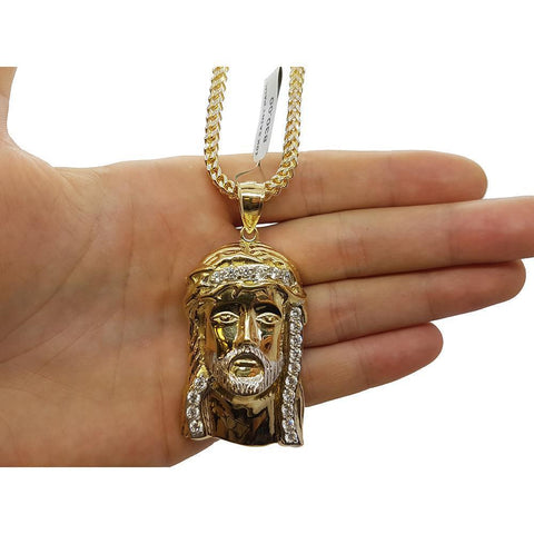 10K Franco 3.5MM With Jesus en or 10K MNG-097 - WORLDSTARBLING