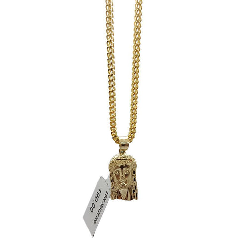 Chaine Franco 10K 2.2MM With Jesus En or 10K MNG-031 - WORLDSTARBLING