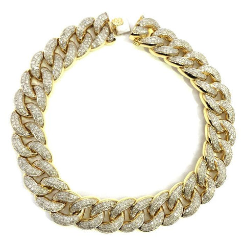 10K Yellow Gold 4.31CT Diamond Cuban Link Bracelet DBG-004 - WORLDSTARBLING