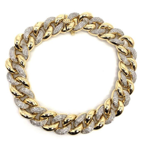 10K Yellow Gold 2.26CT Diamond Cuban Link Bracelet DBG-005 - WORLDSTARBLING
