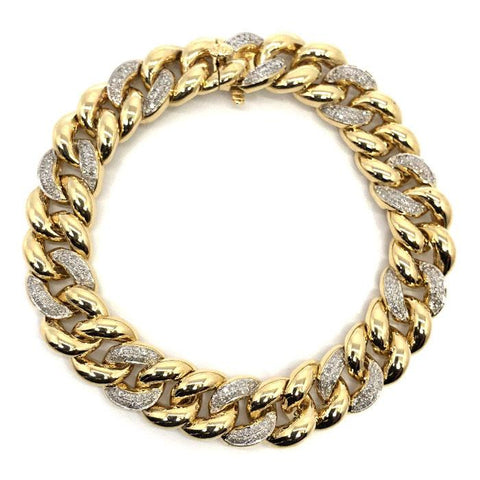 10K Yellow Gold 1.39CT Diamond Cuban Link Bracelet DBG-006 - WORLDSTARBLING