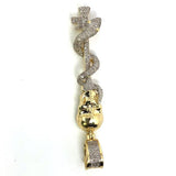 10K Yellow & White Gold 16MM 0.37CT Diamond Skull Pendant DPG-018 - WORLDSTARBLING