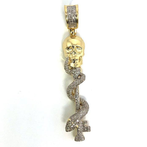10K Yellow & White Gold 47MM Skull Snake Wrap Diamond Pendant DPG-018