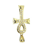 10K Yellow Gold Cross Ankh Pendant Diamond Cut and Zircons L GAP-006 - WORLDSTARBLING