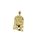 10K Yellow Gold Jesus Round Head Men's Pendant L GJP-021 - WORLDSTARBLING