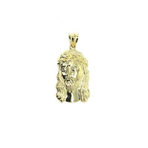 10 Karat Yellow Gold Men's Pendant Jesus Round Head L GJP-024 - WORLDSTARBLING