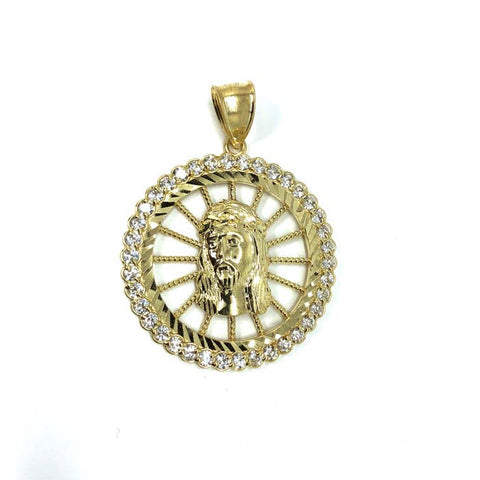 10K Jesus Men's Pendant Yellow Gold & Zircons GJP-015 - WORLDSTARBLING