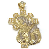 10K Yellow Gold and White Jesus Pendant GJP_002 - WORLDSTARBLING