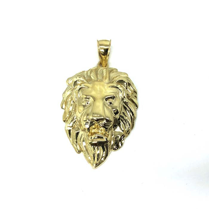 10K Yellow Gold Lion Head Pendant with diamond cut XXL LGP-011 - WORLDSTARBLING