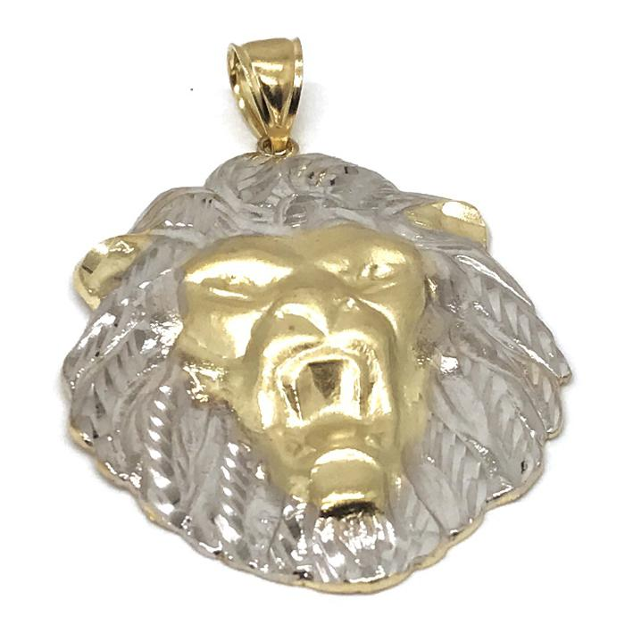 10K Yellow Gold and White Lion Pendant LGP_001 - WORLDSTARBLING