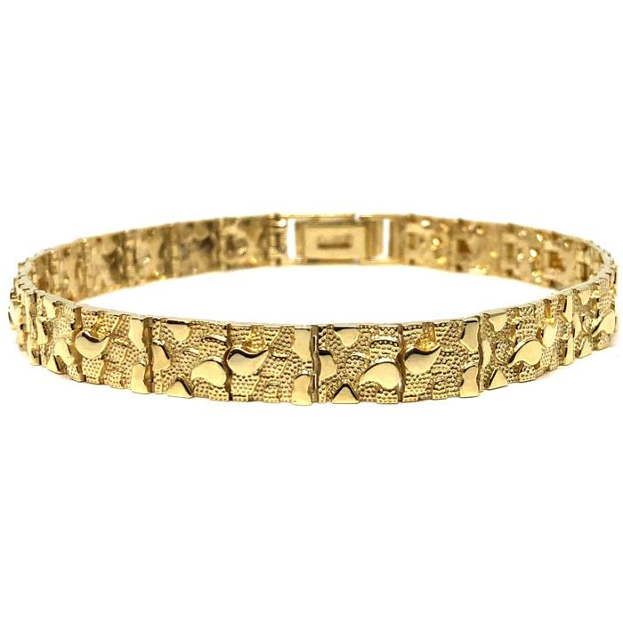 10K 7MM Nugget Bracelet MB-012 - WORLDSTARBLING