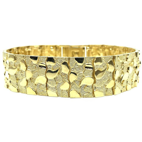 10K 17MM Nugget Bracelet MB-016 - WORLDSTARBLING