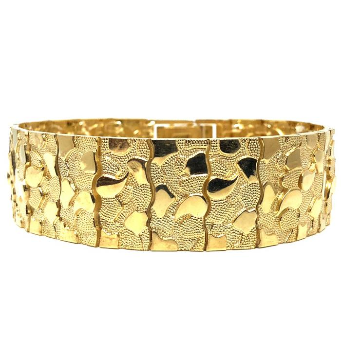 10K 20MM Nugget Bracelet MB-017 - WORLDSTARBLING