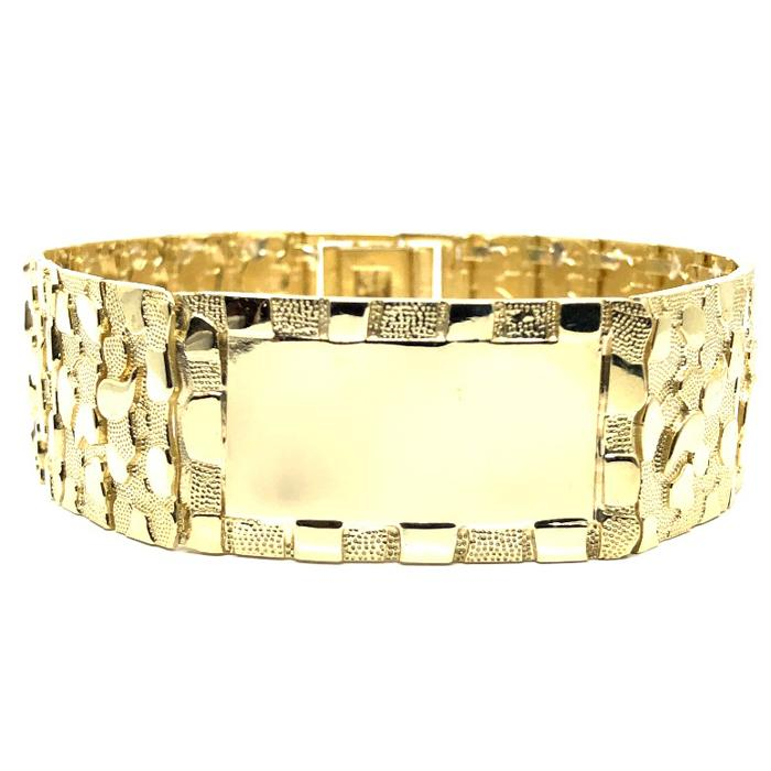 10K 23MM Nugget ID Bracelet MB-024 - WORLDSTARBLING