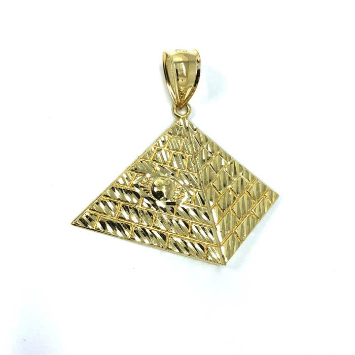 10K Yellow Gold Pyramid Men's Pendant L MPG-372 - WORLDSTARBLING