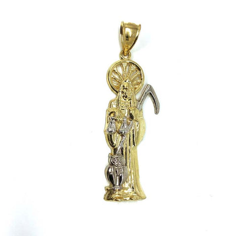 10K Yellow Gold & White Gold Mower Pendant L MPG-378 - WORLDSTARBLING