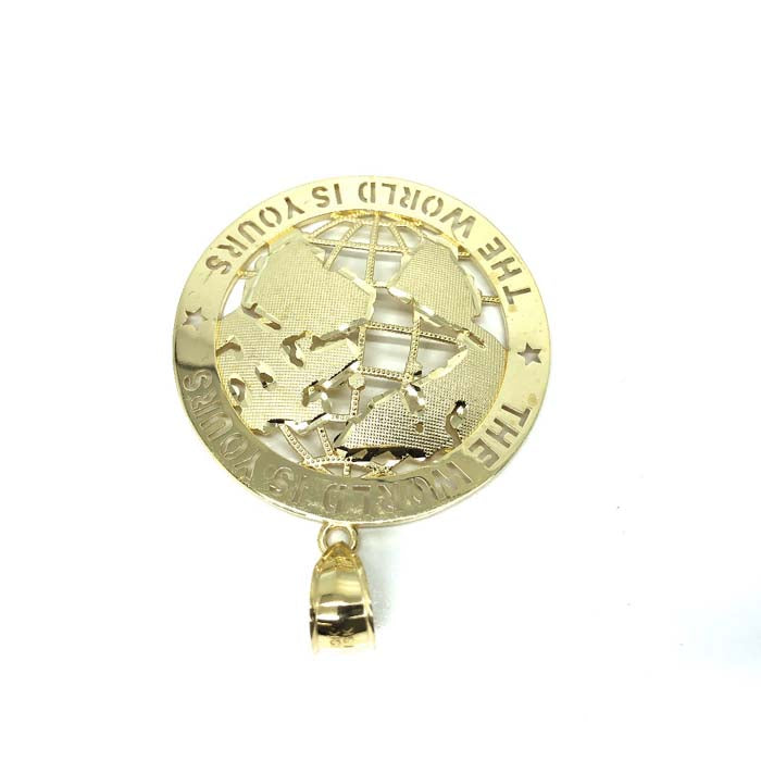 10K Yellow Gold The Wolrd Is Yours Globe Pendant XL MPG-384 - WORLDSTARBLING