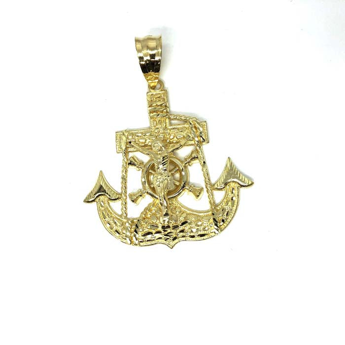 10K Yellow Gold Anchor Men Pendant MPG-390 - WORLDSTARBLING