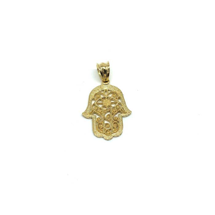 10K Yellow Gold Hands Of Fatima Men's Pendant XS MPG-408 - WORLDSTARBLING
