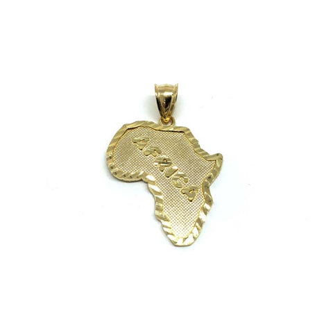 10K Yellow Gold Map Of Africa Men's Pendant S MPG-425 - WORLDSTARBLING