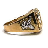 10k yellow & white gold eagle cubic zirconia ring