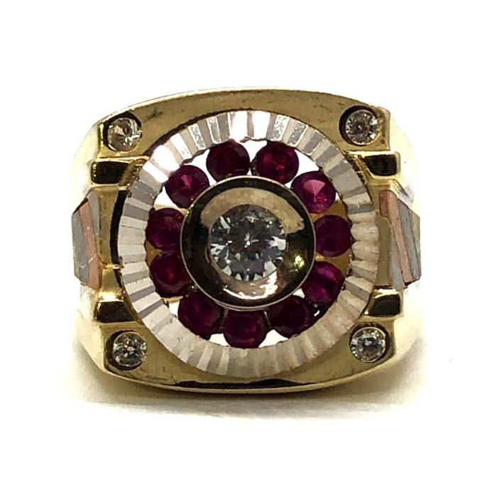 Bague cercle CZ rouge or jaune 10K MRG-202