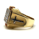 Gold Cross Ring with Diamond