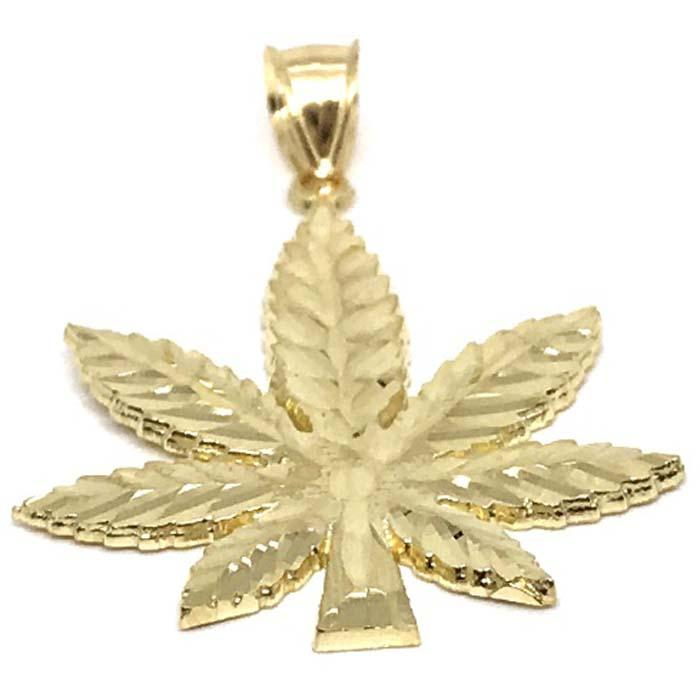 10K Yellow Gold Marijuanna Pendant MWG_001 - WORLDSTARBLING