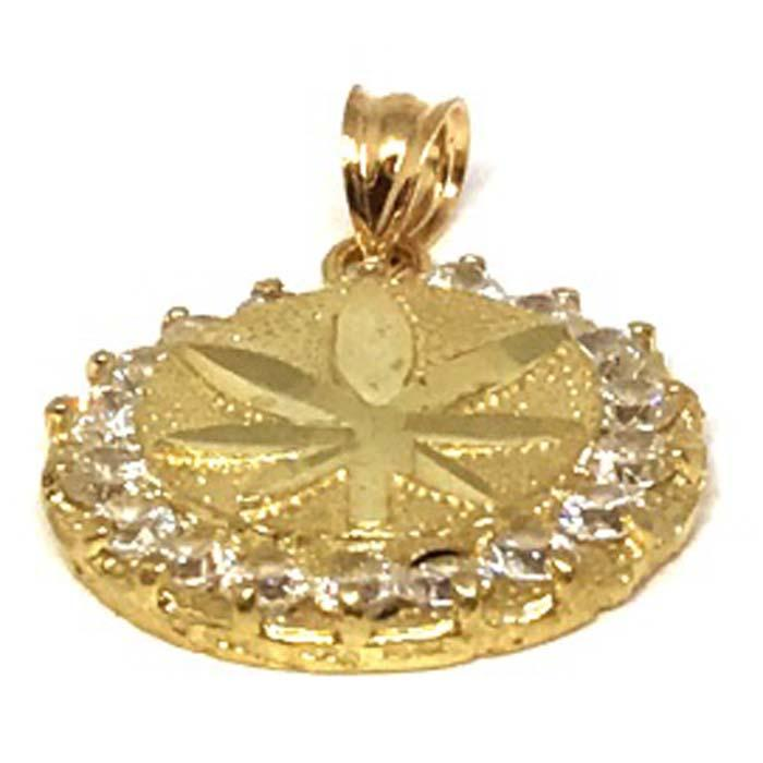 10K Yellow Gold Marijuanna Pendant MWG_011 - WORLDSTARBLING