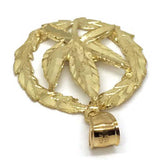 10K Yellow Gold Marijuanna Pendant MWG_022 - WORLDSTARBLING