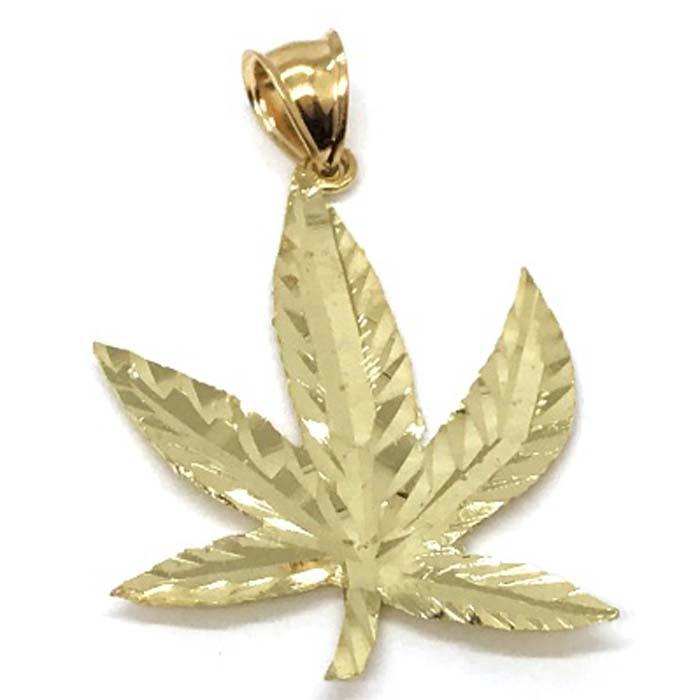 10K Yellow Gold Marijuanna Pendant MWG_023 - WORLDSTARBLING
