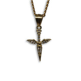 24IN 3MM CHAIN WITH WING SWORD PENDANT STL_039